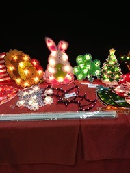 Lighted decorations at Christmas Expo